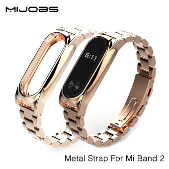 Original Mijobs New Metal Straps For Xiaomi Mi Band 2 BraceletStrap Miband 2 Wristband Replacement Smart Band Accessories For MiBand 2 - intl