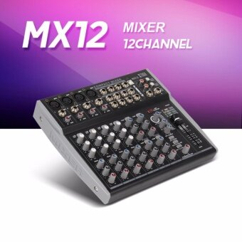 Original Xtuga MX12Channels 3-Band EQ Audio Music Mixer MixingConsole with USB XLR LINE Input 48V Phantom Power for Recording DJStage Karaoke - intl