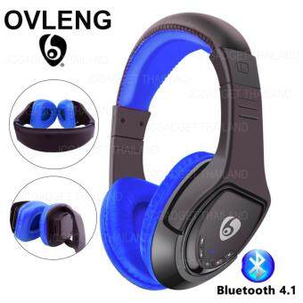 OVLENG WIRELESS HEADSET หูฟังบลูทูธไร้สายรองรับเมมโมรี่ รุ่น MX333( สีน้ำเงิน )