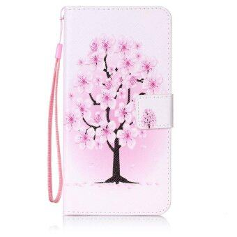 Harga Patterned Leather Wallet Shell with Strap for Lenovo A7000 / A7000Plus/ K3 Note - Pretty Plum Flower - intl