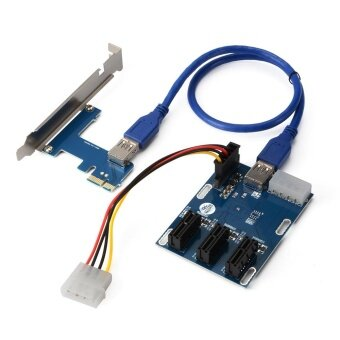 PCI-E Express 1X 1 to 3 Port Switch Multiplier Expansion Hub RiserCard - 2