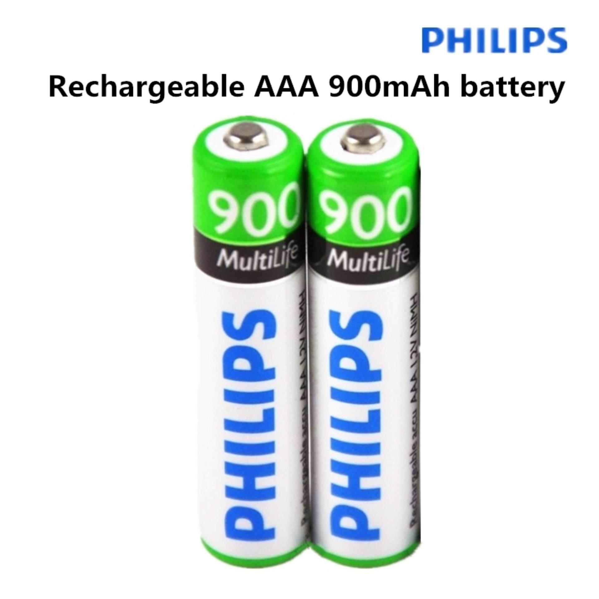 PHILIPS ถ่านชาร์จ AAA 900 mAh NIMH Rechargeable Battery 2 ก้อน