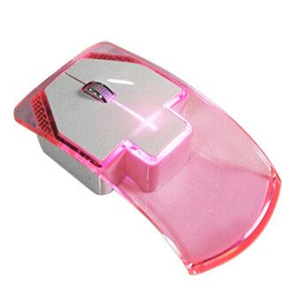 Portable Wireless 2.4G Ultra-thin Silent Transparent LED Colorful\nLight Gaming Optical Mouse for Tablet Notebook Computer with USB\nReceiver Pink
