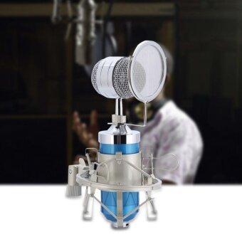 เสียงระดับมืออาชีพชุดไมโครโฟนคอนเดนเซอร์ไมโครโฟนบันทึกเสียงพร้อมช็อตเมาท์ (สีฟ้า)