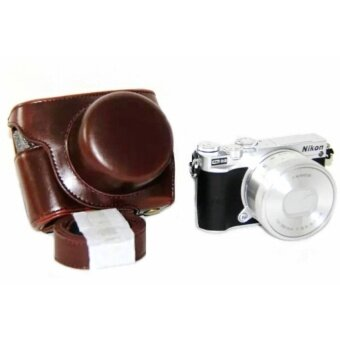 PU Leather Camera Case Bag Cover with Strap for Nikon J5 10-30mmLens - intl