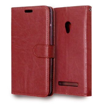 PU Leather Flip Stand Case Wallet Cover for Asus Zenfone 5 (Brown)
