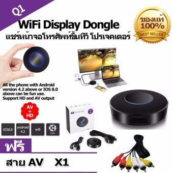 Q1 WiFi Display Dongle ตัวแปลงสัญญาณภาพ HD+AV output Mirroring เครื่องรับสัญญาณ(รองรับ Android/IOS แต่ IOS ต้องใช้ Wi-Fi บ้านเท่านั้น) (แถมสาย AV มูลค่า 199 บาท 1 เส้น )