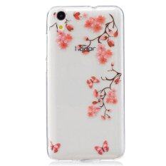 Red flower butterfly TPU Soft Gasbag Back Case Cover For Huawei honor 5A .