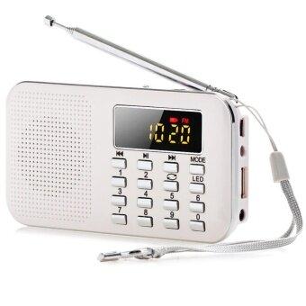 Slim FM AM Radio Digital LCD Supper Bass Mini Speaker AUX USB TF LED Light White - intl