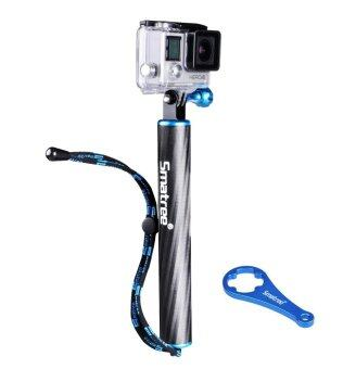 Smatree SmaPole F1 Floating Hand Grip / Pole / Bobber (Aluminum& Carbon-fibre Materials) integrated with aluminium alloyTripod Mount and Nut+Thumb screw for GoPro Hero 4, 3+, 3, 2, 1 andSJ4000, SJ5000 Cameras and Comcorders (Blue)