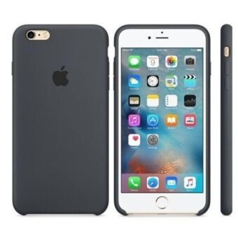 Solid color silicone Hard cover phone case for iphone 6 /6S/Charcoal gray - intl