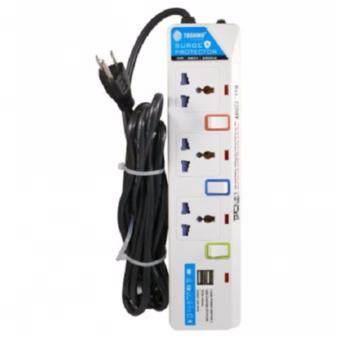 TOSHINO รางปลั๊กไฟ 3 ช่อง 3 สวิตช์ 2 USB E-913USB สาย VCT 3x0.75ยาว 2.7 เมตร