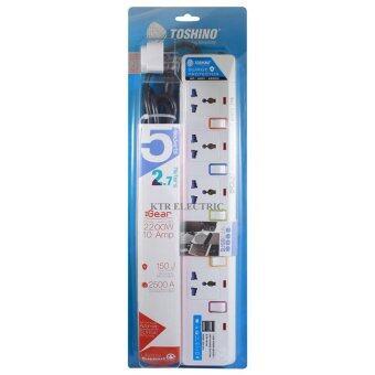 TOSHINO รางปลั๊กไฟ 5 ช่อง 5 สวิตช์ 2 USB E-915USB สาย VCT 3x0.75ยาว 2.7 เมตร