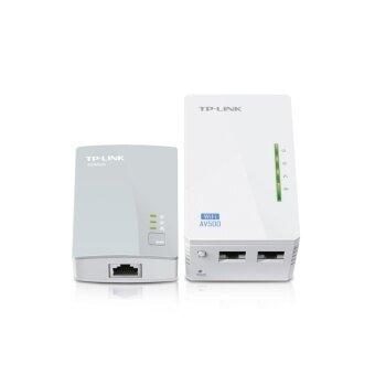TP Link เครื่องขยายสัญญาณไวไฟ พร้อมเครื่องส่งแลนผ่านสายไฟฟ้าในบ้าน 300Mbps WiFi Powerline Range Extender WPA4220KIT