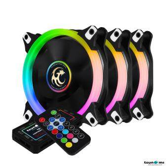 Tsunami Circle Series Mono-Rim RGB-120 RGB Fan Remote Control X 3