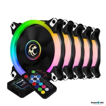 Tsunami Circle Series Mono-Ring RGB-120 RGB Fan Remote Control X 5