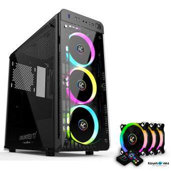 Tsunami Unlimited Series T7+ Gaming Case remote version with Circle RGB Cooling fan X3
