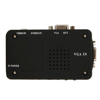 TV AV Composite S-Video RCA In to PC VGA Video Converter BoxAdapter + 3 Cbale - intl