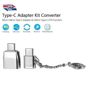 Type-C Adapter Kit Converter Micro USB to Type C Adapter & USBto Type-C with OTG Function Metal Material Anti-lost Ring forMacbook Xiaomi Huawei - intl