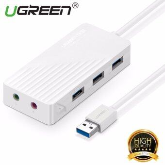 UGREEN 3-Port USB 3.0 Hub USB Sound Card with Audio and Mic Combo Stereo Adapter - White1m - intl