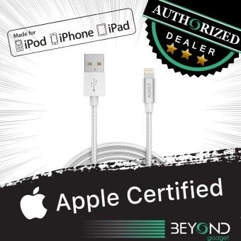 [Upgraded]สายชาร์จ APPLE Certified Aukey 1.2 m Braided LightningUSB Cable สายชาร์จ/สายซิงค์/สายเคเบิ้ล/สายถักไนล่อนคุณภาพสูง MFI สีSilver