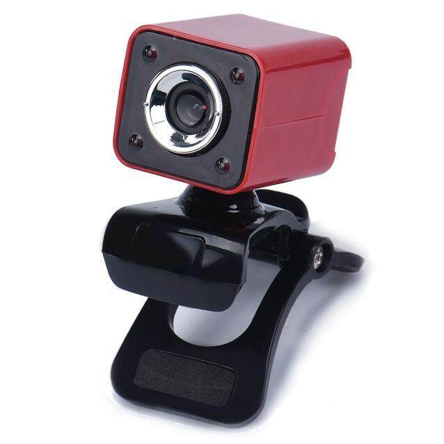 USB 2.0 0.3MP 4 LED HD Webcam Web Cam Camera with MIC for Laptop Computer Red