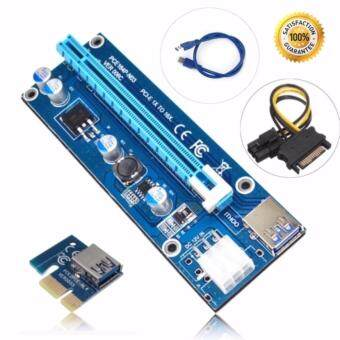 USB 3.0 PCI-E เอ็กซ์เพรส 1 x ที่ 16 x ไรเซอร์การ์ดอะแดปเตอร์PCI-E 1X to 16X Riser Card 6 Pin to SATA Power Supply USB3.0 Cable 60cm for bitcoin miners - Intl