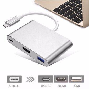 สนใจซื้อ USB C Digital AV Multiport Adapter Type C USB 3.1 Hub USB C toHDMI 4K Adapter Type C Female Charger Adapter and USB 3.0 for 2016MacBook Pro MacBook Google Chromebook Pixel and other Type Cdevices - intl