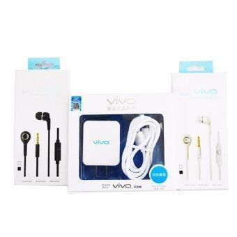 vivo ชุดสายชาร์จ+ชุดหูฟังสำหรับ VIVO แพ็ค 3 ชิ้น (สีขาว-สีดำ)