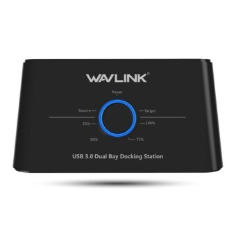 Wavlink USB 3.0 Dual Bay External Hard Drive Docking Station for 2.5/3.5 Inch SSD HDD SATAⅠ/Ⅱ/Ⅲ Supportting 2×8TB & UASP With Offline Clone and Backup Function - intl