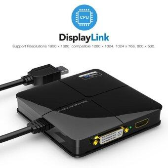 Wavlink USB 3.0 to DVI / VGA / HDMI Graphics Adapter with GigabitEthernet Port Dual Head Multi-Display DisplayPort HDMI up to2560x1440 DVI/ VGA to 2048x1152/1920x1200 Supports Windows Mac OS X- intl