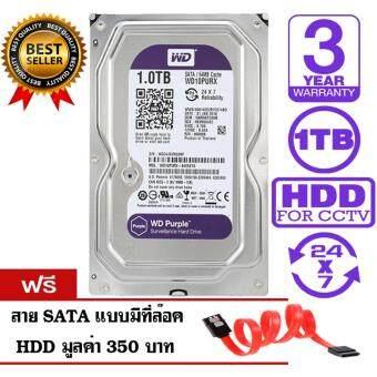 WD Purple 1TB for CCTV - WD10PURX (สีม่วง) รับประกันศูนย์ WD 3 ปี แถมฟรีสาย SATA HDD