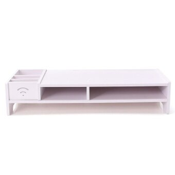 White Desktop Monitor Stand Computer Screen Riser Wood Shelf Plinth Laptop - intl