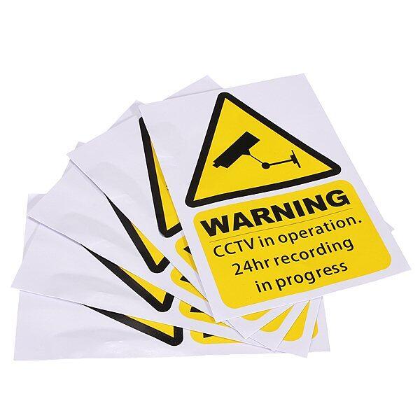 สติ้กเกอร์ติดหน้าต่าง Window Warning Stickers Signs Decal CCTV InOperation Security Camera Home 5 ชิ้น