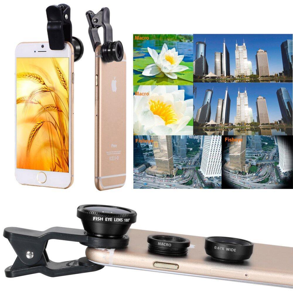 XCSource ชุดเลนส์ติด3in1 Fish Eye + Wide Angle+ Macro Lens Fisheye Clip สำหรับ iPhone 4S 5S 6 Plus(สีดำ)