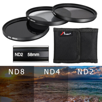 XCSource เลนส์ฟิลตอร์ 3pcs 58mm Neutral Density ND2 ND4 ND8 ND 2 4 8 Filter Set 58 mm สำหรับ Canon