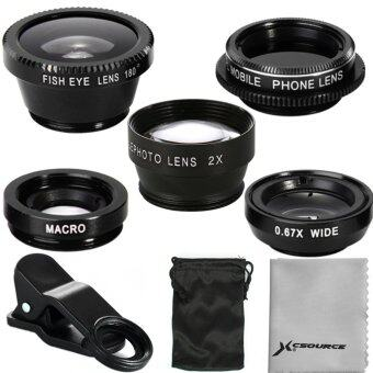 XCSource 5in1 เลนส์ติดโทรศัพท์ iPhone 5S 6ประกอบด้วย FishEyeWide Angle Macro CPL 2.0X Tele Lens