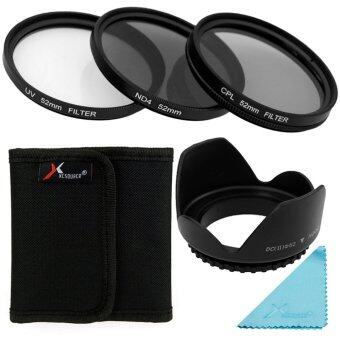 XCSource ชุดเลนส์ฟิลเตอร์ UV CPL ND4 Filter + Lens Hood 52mmสำหรับกล้อง Nikon D7100 D7000 D5200 D5100 D5000
