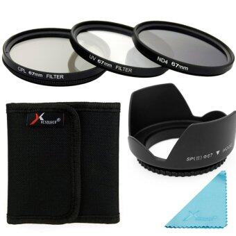 Xcsource ชุดเลนส์ UV CPL ND4 Filter + Lens Hood 67mm สำหรับกล้องDSLR Canon 700D 650D 600D 550D 500D