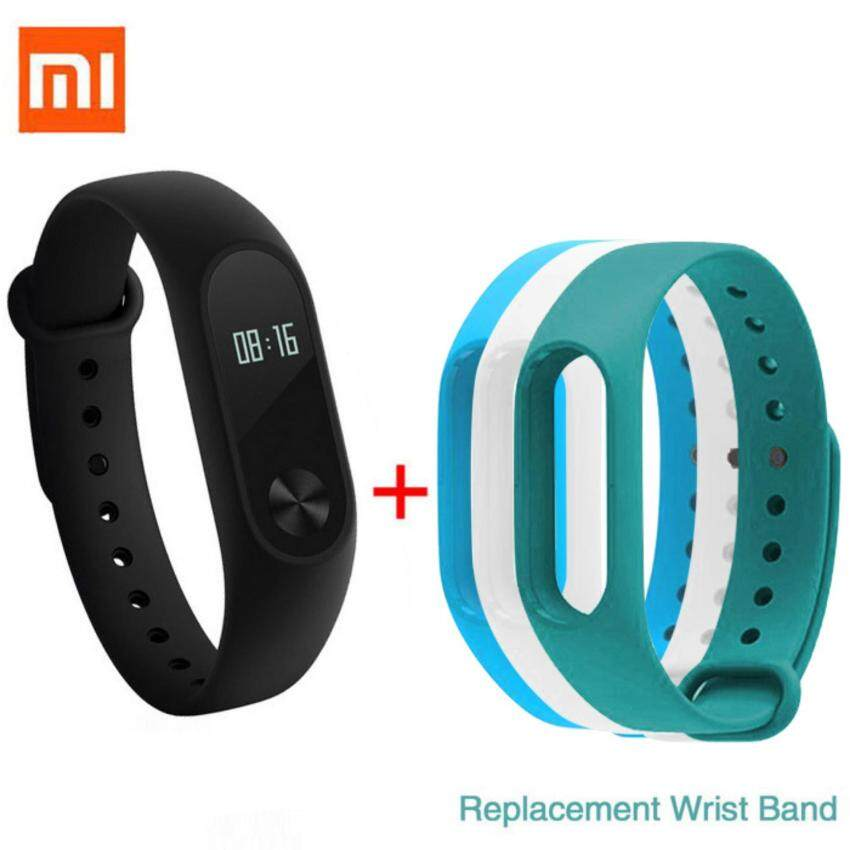 Xiaomi 0.42 OLED Touch Screen Mi Band 2 Smart Bracelet + 3 colors'Replace Band - intl
