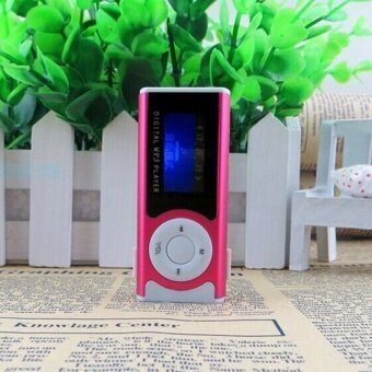 YBC LCD Screen Mp3 Music Player Mini Clip Support SD TF Card - RoseRed - intl