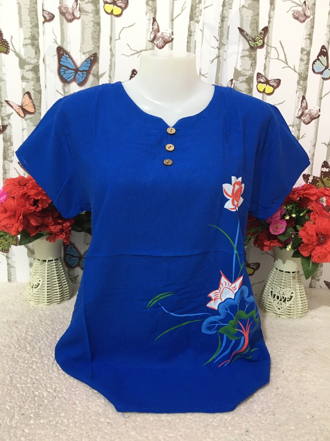 เสื้อผู้หญิง เสื้อผ้าสปัน รอบอก38-44นิ้ว เสื้อแขนสั้น เสื้อผ้าสาวอวบ เสื้อผ้าแฟชั่นผู้หญิง รุ่น001