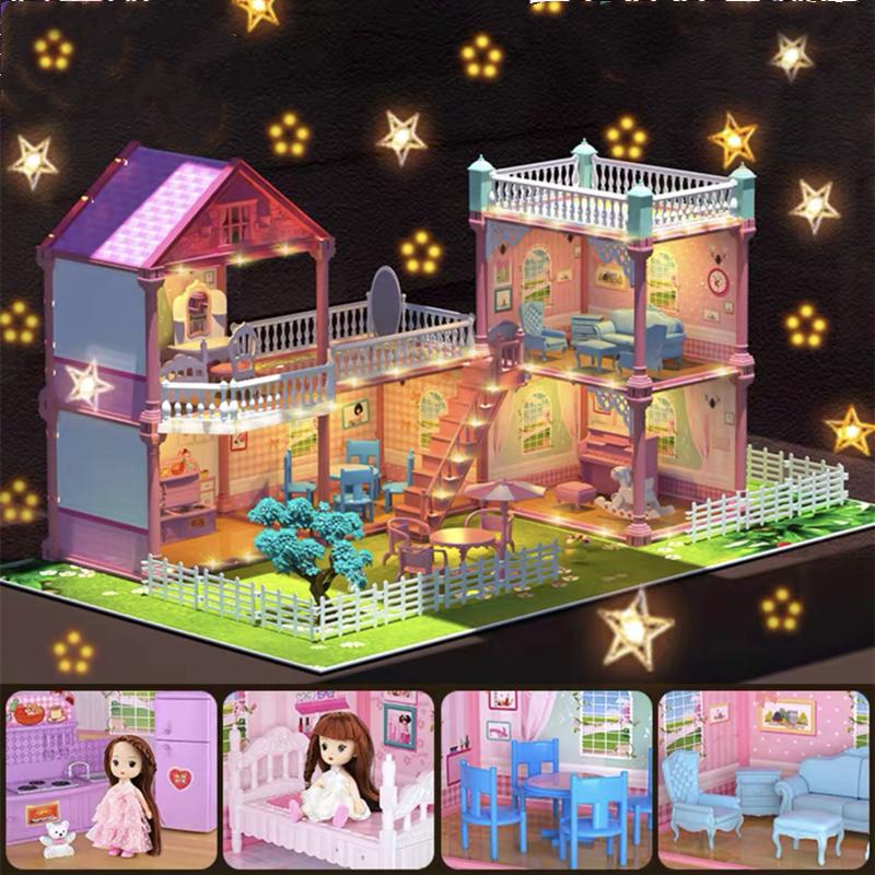 บ้างของเล่นตุ๊กตา มีไฟLEDสาวบ้านต๊กตา มีเฟอร์นิเจอร์ ของเล่นบ้านบาร์บี้ ชุดสำหรับBarbie ของเล่นบ้านชุดปราสาทเจ้าหญิง บ้านตุ๊กตาDIY