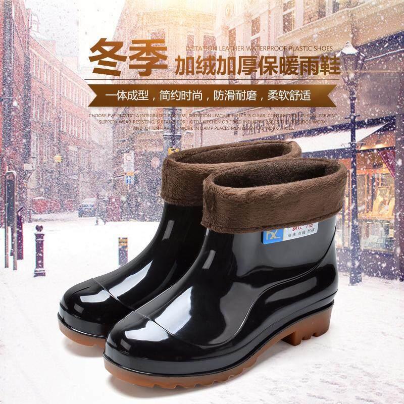 Detail Gambar Musim gugur musim dingin sepatu boots hujan Pria Pendek sepatu bot hujan ditambah kapas rendah Anti Selip Sedang Penghangat Sepatu anti air ...