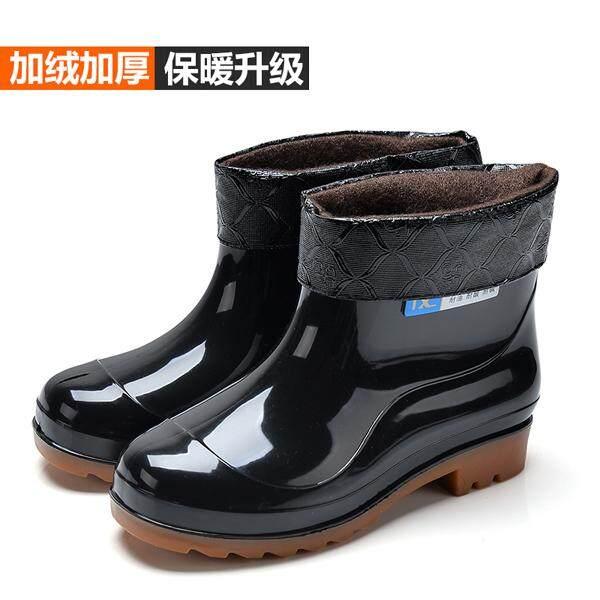 Musim gugur musim dingin sepatu boots hujan Pria Pendek sepatu bot hujan ditambah kapas rendah Anti