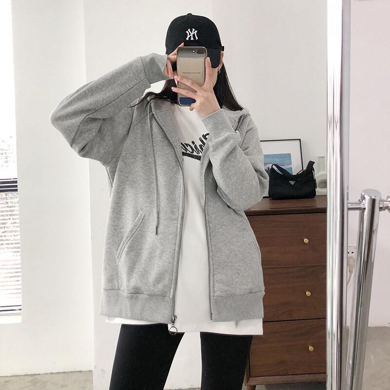เสื้อกันหนาวหมวก สีทึบ หมวก เสื้อกันหนาวผญ 5สี M~2XL ราคาถูกที่สุด เสื้อกันหนาว สีทึบ แฟชั่น ไม่เป็นทางการ เสื้อกันหนาวมีซิป สีพื้น