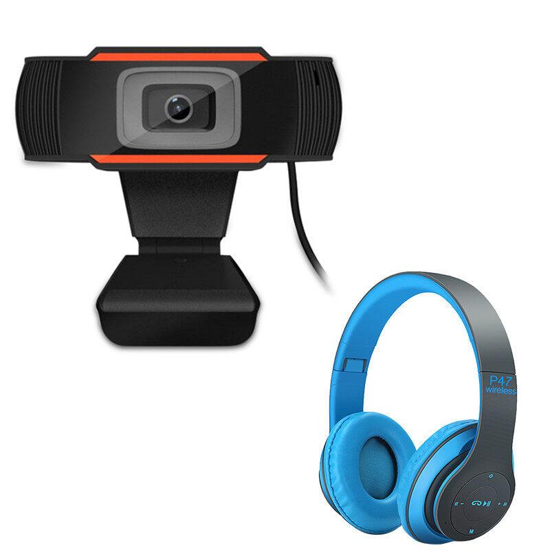 มาพร้อมกับชุดหูฟังบลูทู ธ P47 ฟรี Webcams กล้องเครือข่าย Webcam 1080P หลักสูตรออนไลน์ กล้องคอมพิวเตอร์ การประชุมทางวิดีโอ อุปกรณ์การสอน การเรียน