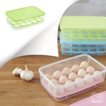 กล่องพลาสติก กล่องใส่ไข่ กล่องใส่ของเอนกประสงค์ ทรงเหลี่ยม สีเขียว (1 ชิ้น)