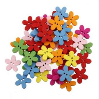 เขี้ยว  1 แพ็คปุ่มไม้ดอกไม้สีสัน Flatbackสำหรับซ่อมนู่นซ่อมเรือเด็ก ๆ (ผสมสี)