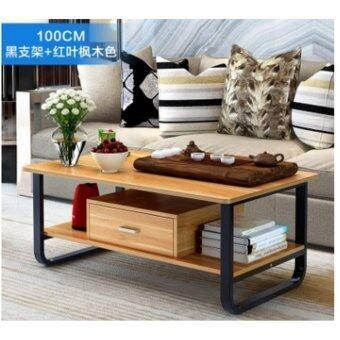 โต๊ะกลางโซฟา 1 เมตร รุ่นมีลิ้นชัก โครงดำ สี Maple